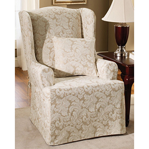 Champagne Scroll Wing Chair Slipcover