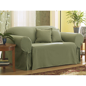 Sage Cotton Duck Loveseat Slipcover
