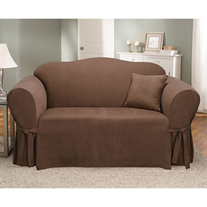 Chocolate Soft Suede Loveseat Slipcover