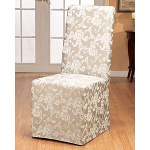 Champagne Scroll Dining Room Chair Cover