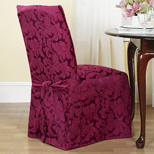 Burgundy Scroll Dining Room Chair Cover
