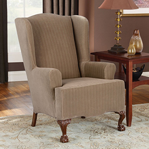Taupe Stretch Pinstripe Wing Chair Slipcover