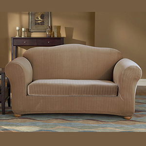 Taupe Stretch Pinstripe Loveseat Slipcover