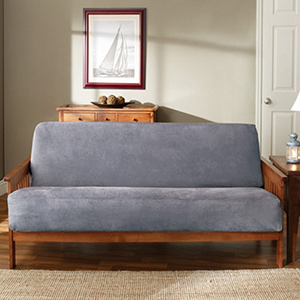 Smoke Blue Soft Suede Futon Slipcover