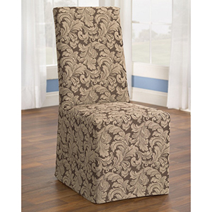 Brown Scroll Dining Room Chair Cover