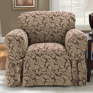 Brown Scroll Chair Slipcover