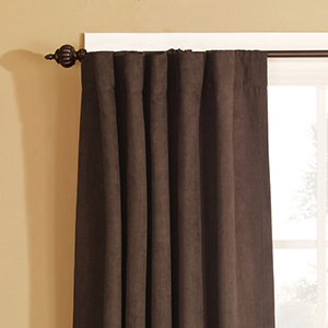 Chocolate Soft Suede Rod Pocket Drape Window Treatment