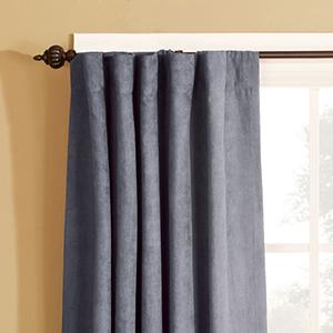 Smoke Blue Soft Suede Rod Pocket Drape Window Treatment
