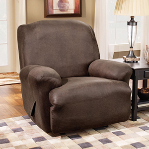 Brown Stretch Leather Recliner Slipcover