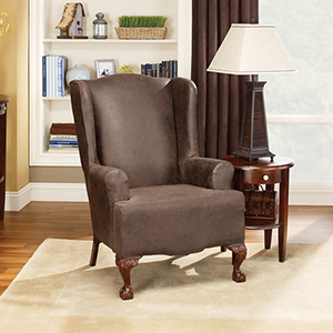 Brown Stretch Leather Wing Chair Slipcover