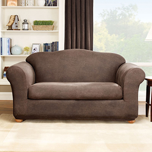 Brown Stretch Leather Sofa Two Piece Slipcover