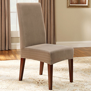 Taupe Stretch Pinstripe Short Dining Room Chair Cover