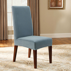 French Blue Stretch Pinstripe Short Dining Room Chair Cover
