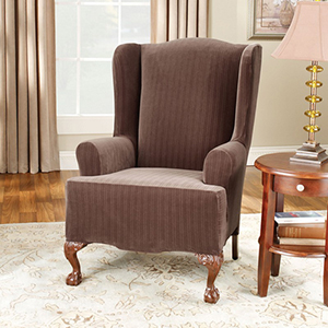 Chocolate Stretch Pinstripe Wing Chair Slipcover