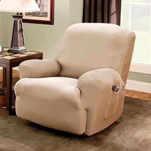 Sand Stretch Stripe Recliner Slipcover
