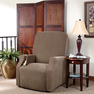 Taupe Stretch Pique Large Lift Recliner Slipcover
