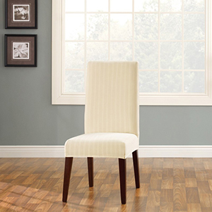 Cream Stretch Pinstripe Short Dining Room Chair Cover