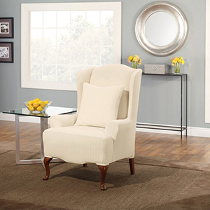 Cream Stretch Pinstripe Wing Chair Slipcover