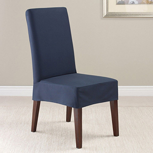 Sapphire Twill Supreme Short Dining Room Chair Slipcover