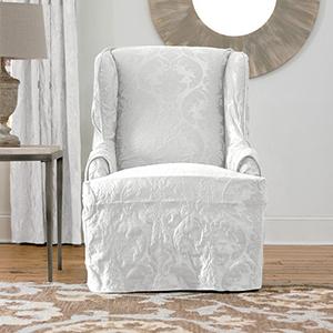 White Matelasse Damask Wing Chair Slipcover