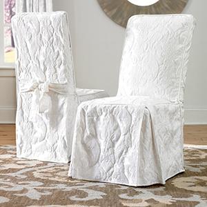 White Matelasse Damask Long Dining Chair Cover