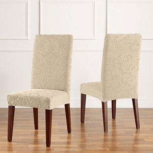Ivory Stretch Jacquared Damask Short Dining Chair Cover