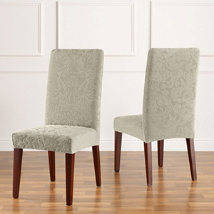 Sage Stretch Jacquared Damask Short Dining Chair Cover