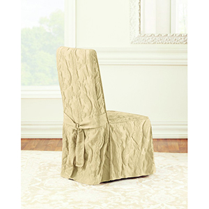 Tan Matelasse Damask Long Dining Chair Cover