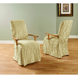 Tan Matelasse Damask Arm Long Dining Chair Cover