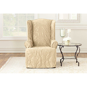 Tan Matelasse Damask Wing Chair Slipcover