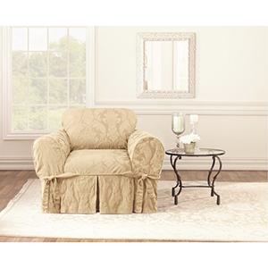 Tan Matelasse Damask Chair Slipcover