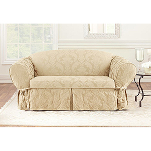Tan Matelasse Damask Loveseat Slipcover