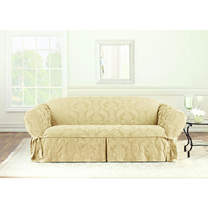Tan Matelasse Damask Sofa Slipcover