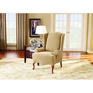 Cream Stretch Pique Wing Chair Slipcover