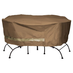 Earth Brown Patio Armor Deluxe Round Table and Chair Cover