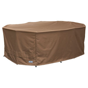 Earth Brown Patio Armor Oval Table and Chair Cover