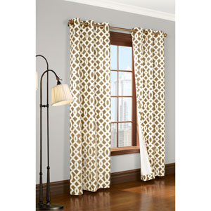 Trellis Khaki 95 x 80-Inch Grommet Curtain Panel Pair
