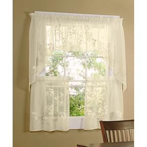 Rhapsody Cream 54 x 24-Inch Hydrangea Tailored Two Tier Pair Curtain