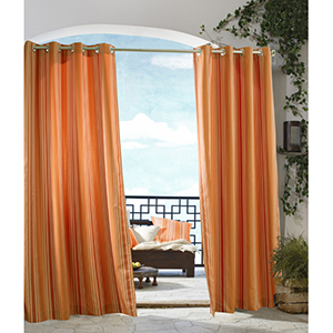 Outdoor Decor Orange 50 x 84-Inch Gazebo Stripe Grommet Top Single Panel