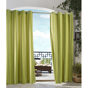 Outdoor Decor Green 50 x 84-Inch Gazebo Stripe Grommet Top Single Panel