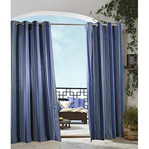 Outdoor Decor Blue 50 x 96-Inch Gazebo Stripe Grommet Top Single Panel