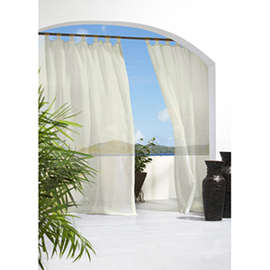 Outdoor Decor Ivory 54 x 84-Inch Escape Hook and Loop Tab Top Single Panel