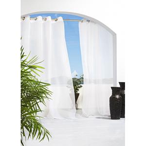 Outdoor Decor White 54 x 96-Inch Escape Grommet Top Single Panel