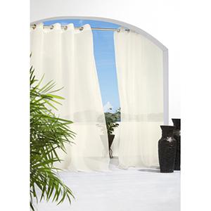 Outdoor Decor Ivory 54 x 84-Inch Cote D'Azure Grommet Top Single Panel