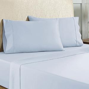 Baby Blue 4 Piece Cal King Cotton Rich Sheet Set