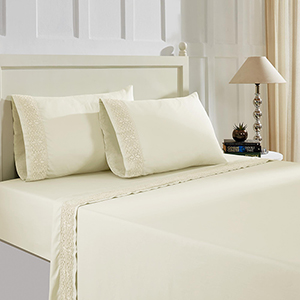 Ivory 4 Piece Full Crochet Microfiber Sheet Set With Crystal Lace