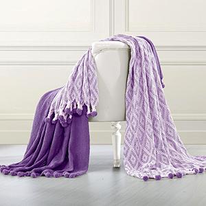 Allure Majesty Purple 2 Piece Diamond Maze Throw