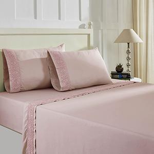 Cottage Lane Pink Silver 4 Piece Queen T600 Cotton Rich Lace Hem Sheets