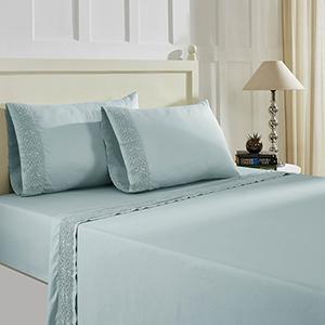 Cottage Lane Dusty Spa Blue 3 Piece Twin T600 Cotton Rich Lace Hem Sheets