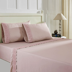 Cottage Lane Pink Silver 4 Piece Full T600 Cotton Rich Lace Hem Sheets